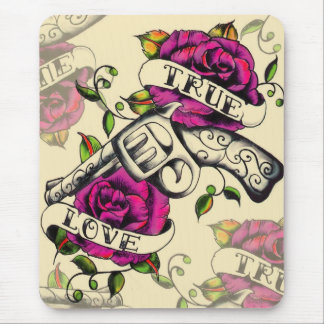 True Love Old school pistol tattoo art. Mouse Pad