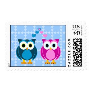 True Love - Owl Cartoon Postage Stamp
