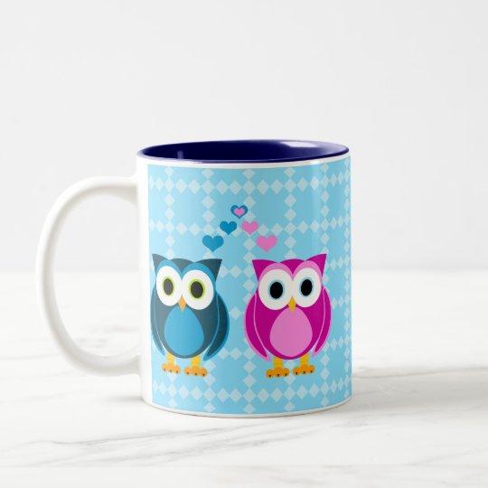 True Love - Owl Cartoon Two-Tone Coffee Mug