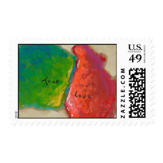 True Love painting modern abstract art red green Postage