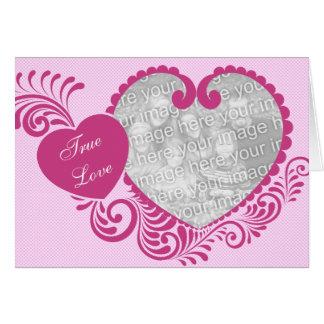 True Love Pink Heart Photo Valentine s Day Card