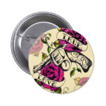 True Love Pistol and Roses artwork, pink & yellow Button