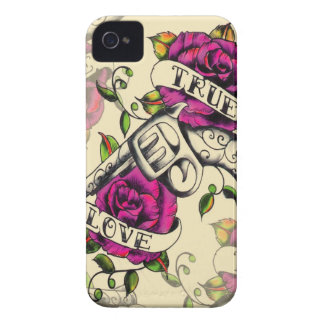 True Love Pistol and Roses artwork, pink & yellow iPhone 4 Cover