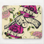 True Love Pistol and Roses artwork, pink & yellow Mouse Pad