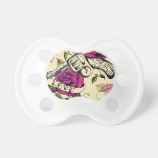 True Love Pistol and Roses artwork, pink & yellow Pacifier