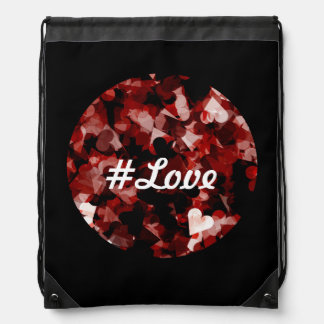 True Love Red Hearts Emotion with Black Pink Color Drawstring Bag