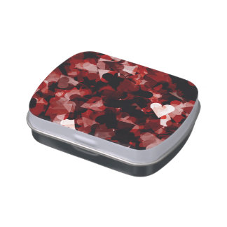 True Love Red Hearts Emotion with Black Pink Color Jelly Belly Candy Tin