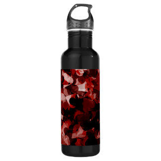 True Love Red Hearts Emotion with Black Pink Color Stainless Steel Water Bottle