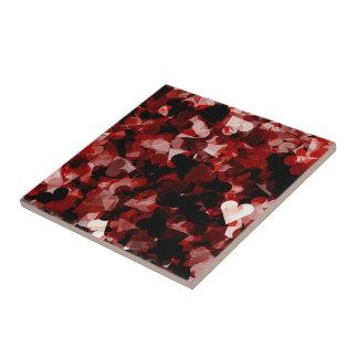 True Love Red Hearts Emotion with Black Pink Color Tile