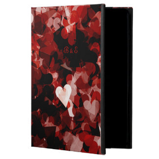 True Love Red Hearts with Black Heart Add Initials Case For iPad Air