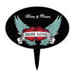 True Love Rockabilly Winged Heart Cake Topper