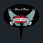 "True Love Rockabilly Winged Heart Cake Topper<br><div class=""desc"">If it&#39;s true love,  a plain old heart isn&#39;t gonna cut it. Two winged red hearts are joined by a banner spelling out &quot;True Love&quot; on this cake pick. Add some rockabilly style and you&#39;ve got a heart that&#39;ll rock your world. Available with matching products.</div>"