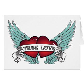 True Love Rockabilly Winged Heart Card