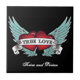 True Love Rockabilly Winged Heart Ceramic Tile