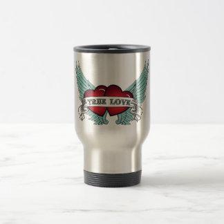 True Love Rockabilly Winged Heart Travel Mug