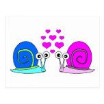 True Love - Snail Cartoon Postcard