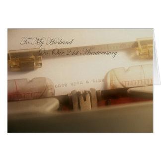 True Love Story To My Husband 21st Anniversary Greeting Card