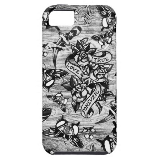 True love tattoo art in black and white iphone 5 case for Tattoo artist iphone cases