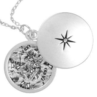 True Love Tattoo art in black and white. Round Locket Necklace