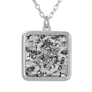 True Love Tattoo art in black and white. Square Pendant Necklace