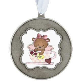 True Love Teddy Bear Pewter Ornament