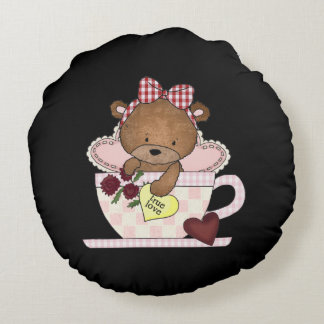 True Love Teddy Bear Round Pillow