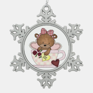 True Love Teddy Bear Snowflake Pewter Christmas Ornament