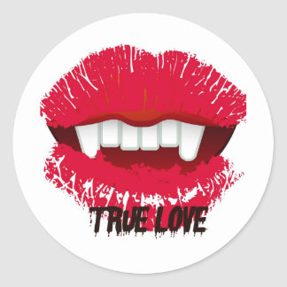 TRUE LOVE VAMP LIPS PRINT CLASSIC ROUND STICKER