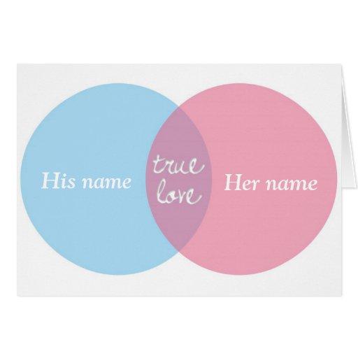 True Love Venn Diagram Greeting Cards