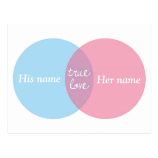 True Love Venn Diagram Post Card