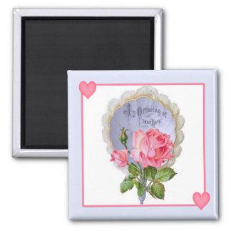 True Love Vintage Valentine Rose Magnet