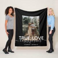 True Love Wedding Couple Photo Fleece Blanket