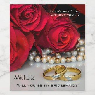 True Love Wedding or Bridal Red Roses Wine Label