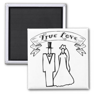 True Love Wedding T-Shirts & Gifts 2 Inch Square Magnet