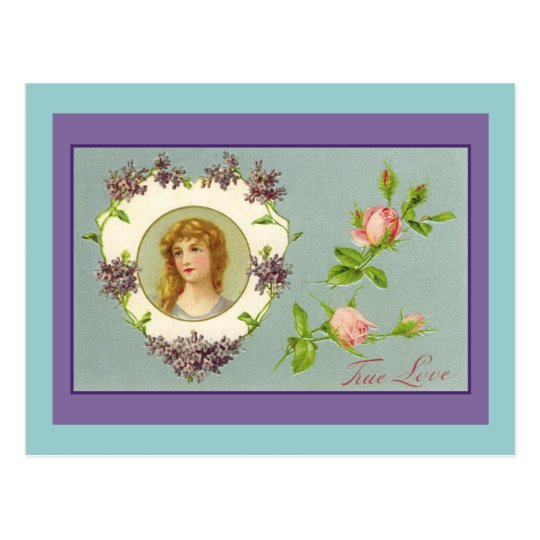 True Love with Lilacs Vintage Valentine Card
