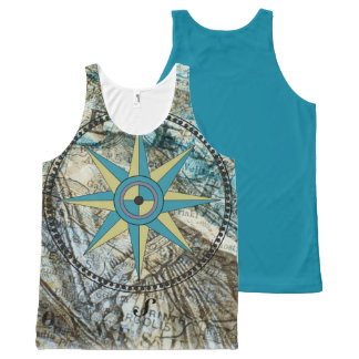 True North Compass And Map Tank Top All-Over Print Tank Top