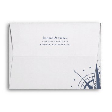 Beach Themed True North | Nautical Compass 5x7 Return Address Envelope