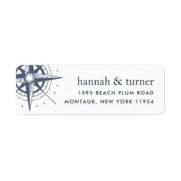 Beach Themed True North | Nautical Compass Return Address Label