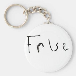 True or False Basic Round Button Keychain