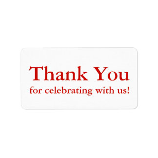 True Red Thank You Stickers or Wedding Gift Labels