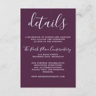True Simplicity Dark Purple Minimalist Wedding Enclosure Card