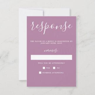 True Simplicity Light Purple Minimalist Wedding RSVP Card