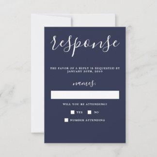 True Simplicity Navy Blue Minimalist Wedding RSVP Card