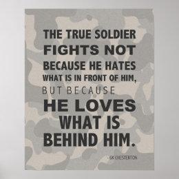 True Soldier Loves Poster, Military, GK Chesterton Poster
