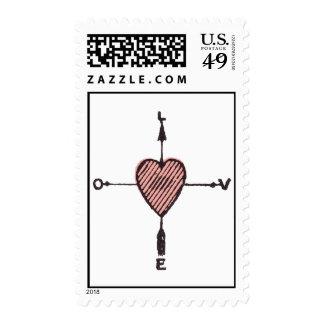 Truelove River Vintage Compass Heart Postage