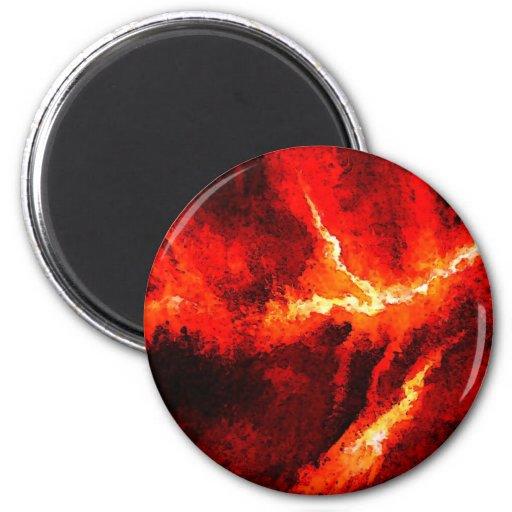 Truena - arte moderno abstracto rojo imán redondo 5 cm