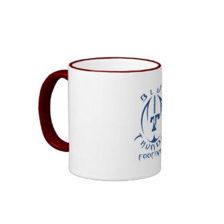 Trueno azul del fútbol de la juventud del optimist taza de café