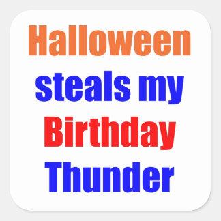 Trueno del cumpleaños de Halloween Colcomanias Cuadradas