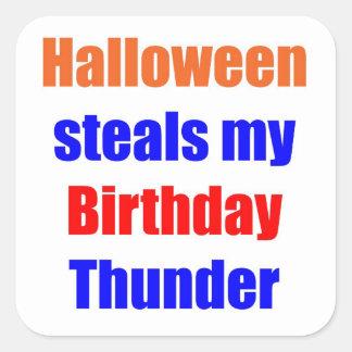 Trueno del cumpleaños de Halloween Colcomanias Cuadradases