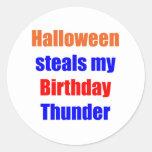 Trueno del cumpleaños de Halloween Pegatinas Redondas